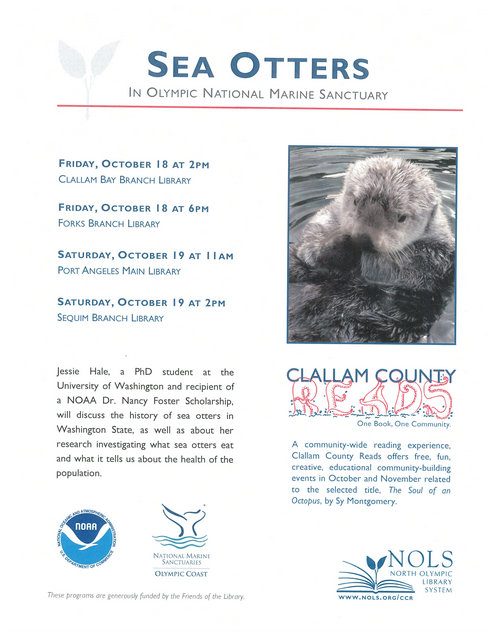 Sea Otters In Olympic National Marine Sanctuary @ Forks Branch Library | Forks | Washington | United States