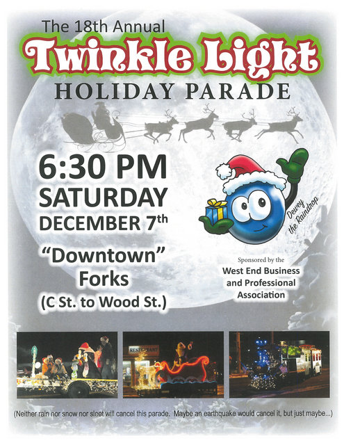 The 18th Annual Twinkle Light Holiday Parade @ Downtown Forks (C St. to Wood St.)
