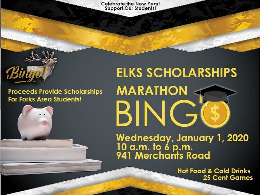 Elks Scholarship Marathon Bingo @ Forks Elks Lodge | Forks | Washington | United States