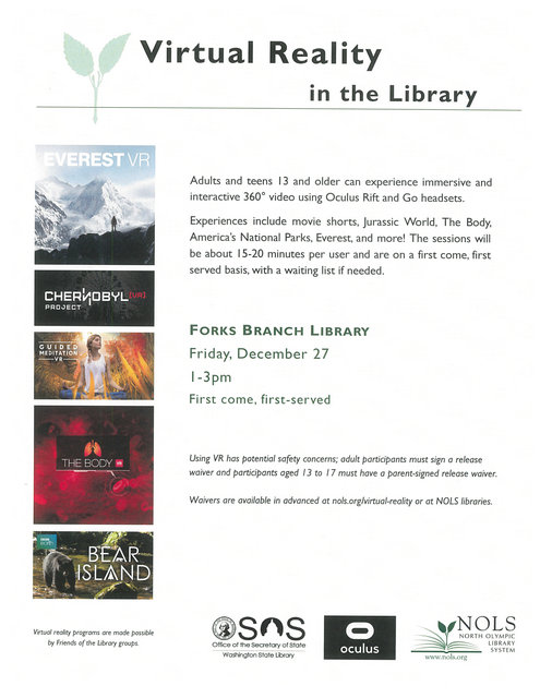 Virtual Reality in the Library @ Forks Branch Library | Forks | Washington | United States