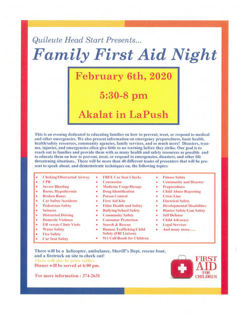 Family First Aid Night @ Akalat Center | La Push | Washington | United States