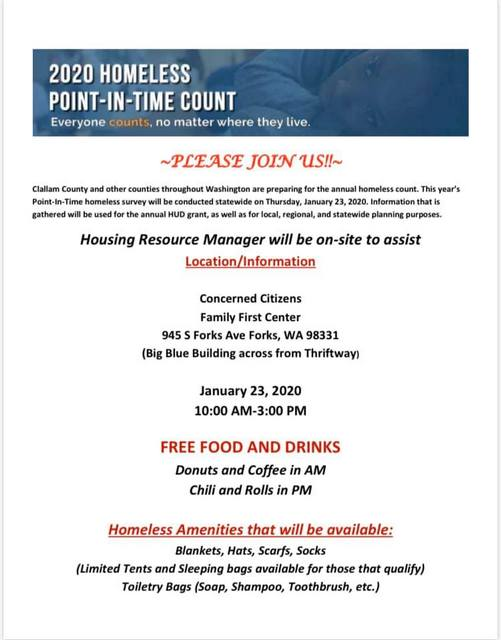 2020 Homeless Point -In-Time Count @ Concerned Citizens Family First Bldg | Forks | Washington | United States