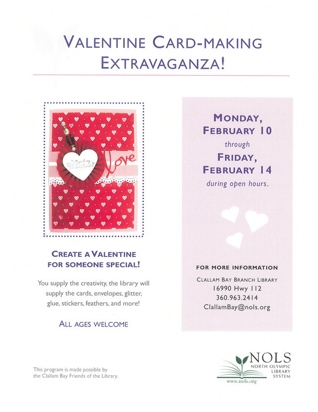 Valentine Card-Making Extravaganza! @ Clallam Bay Branch Library | Clallam Bay | Washington | United States