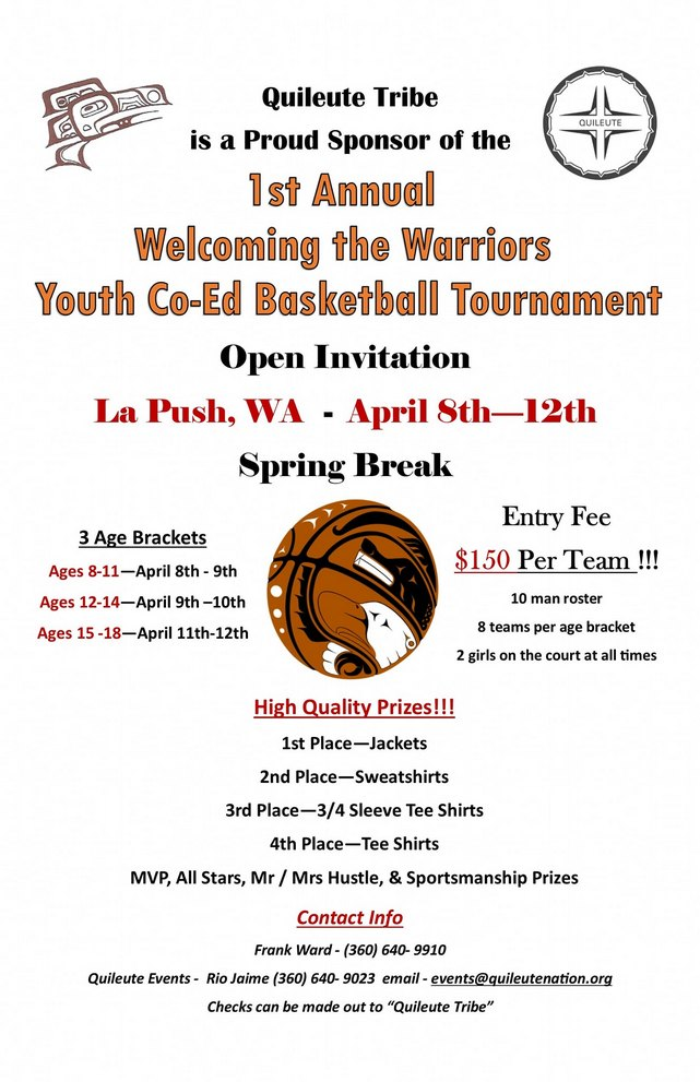 1st Annual Welcoming the Warriors Youth Co-Ed Basketball Tournament @ Akalat Center La Push | La Push | Washington | United States