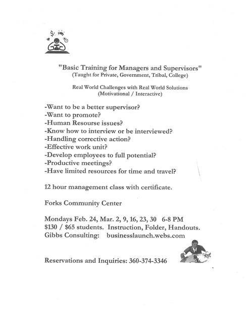 """Basic Training for Managers and Supervisors"" @ Forks Community Center 