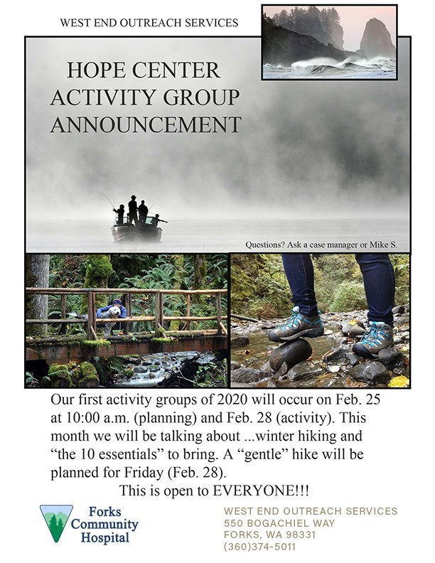 Hope Center Activity Group Announcement @ West End Outreach | Forks | Washington | United States