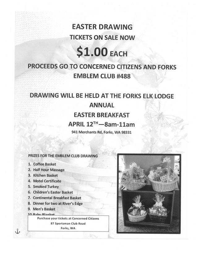 Easter Drawing Tickets on sale Now @ Concerned Citizens | Forks | Washington | United States