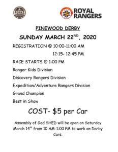 Pinewood Derby @ Assembly Of God Church | Forks | Washington | United States